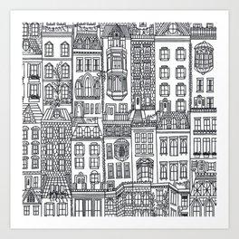 New York Brownstones Black and White Line Drawing Art Print