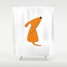 Orange dog Shower Curtain