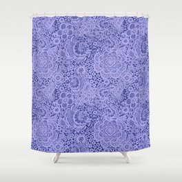 Birds and flowers in Blue Grey Lace Shower Curtain