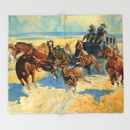 "Frederic Remington Western Art ""Downing the Nigh Leader"" Throw Blanket"
