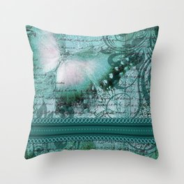 LE PAPILLON | teal Throw Pillow