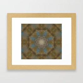 Gold Liquid Turquoise Star Elegance Framed Art Print