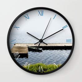 Old dilapidated boat moored Wall Clock
