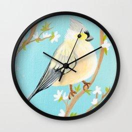 Yellow Spring Bird Wall Clock