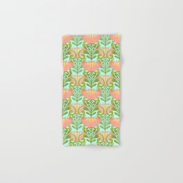 King Protea Flower Pattern - Turquoise Hand & Bath Towel
