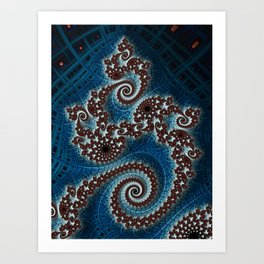 Scrolling Crosshatched Abstract Art Print
