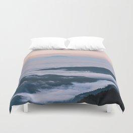Mount Rainier Sunset Above the Clouds Duvet Cover