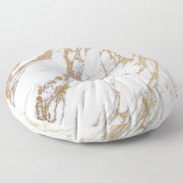 Elegant Creamy White Marble With Luscious Gold Veins Floor Pillow