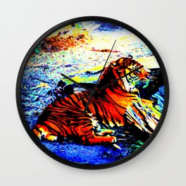 Relaxing Tiger Bright Wall Clock