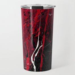 Rising - Black and red abstract splash painting by Rasko Travel Mug