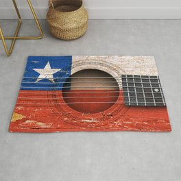 Old Vintage Acoustic Guitar with Chilean Flag Rug