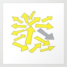 grey arrow on yellow Art Print