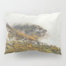 Misty forest in the valley of Gressoney near Monte Rosa during autumn Pillow Sham