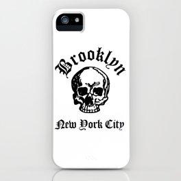 Brooklyn New York City Hardcore Streets Urban Streetwear White Skull, Super Sharp PNG 2 iPhone Case