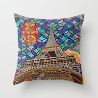 eiffel tower Throw Pillows featuring Eiffel Tower by Art By Carob