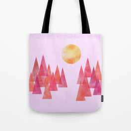 Dusk Over the Patterned Forest Tote Bag