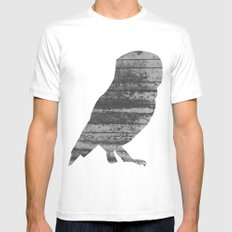 Owl (The Living Things Series) MEDIUM White Mens Fitted Tee