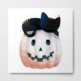065 - tired kitty on the Halloween pumkpin Metal Print
