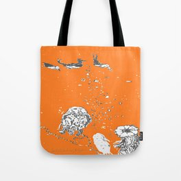Two Tailed Duck and Jellyfish Orange Tote Bag