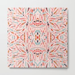 Boho Tile Abstraction / Coral and Blue Metal Print