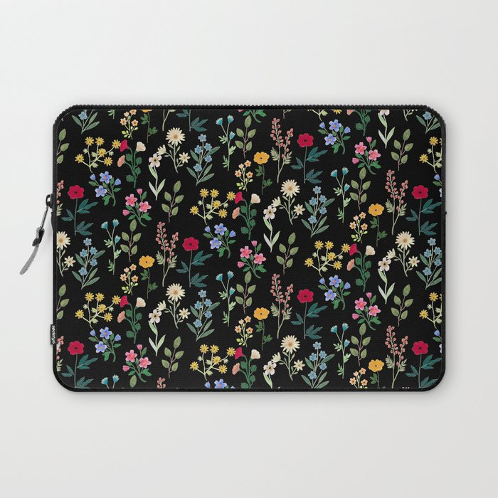 Spring Botanicals Black Laptop Sleeve