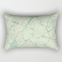 Brussels Map Blue Vintage Rectangular Pillow