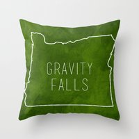 gravity falls Throw Pillows featuring Gravity Falls by pondlifeforme