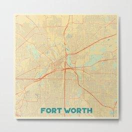 Fort Worth Map Retro Metal Print