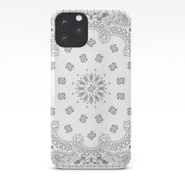 Bandana - White & Grays - Southwestern - Paisley iPhone Case