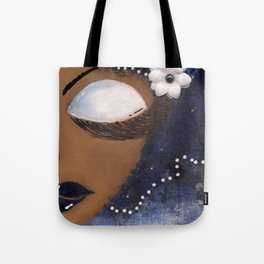 Blue and White Sassy Girl  Tote Bag
