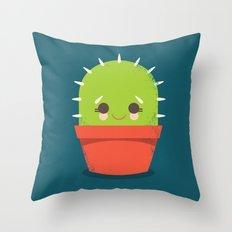 Kawaii Cactus Dude Throw Pillow