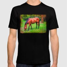 Brown horse grazing MEDIUM Black Mens Fitted Tee