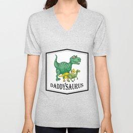 Dad Dinosaur Daddyasaur T-Rex Fathers Day Gift Unisex V-Neck