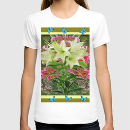 BUTTERFLIES PURPLE & WHITE LILIES AVOCADO FLORAL T-shirt