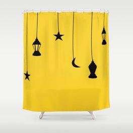 yellow falling star Shower Curtain