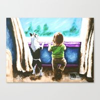toddler Canvas Prints featuring Waiting For Daddy Child Dog Boston Terrier Window Street Trees Toddler Girl Friends Blue Teal  by Jackie Carpenter Art