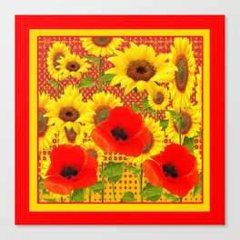 RED POPPIES YELLOW SUNFLOWERS RED PATTERN ART Canvas Print
