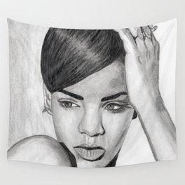 Rihanna Pencil Sketch Wall Tapestry