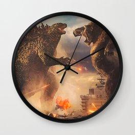 Godzilla vs King Kong Moster Fight Movies Art Print Decor Home Poster Full Size Wall Clock