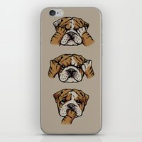 english bulldog iPhone & iPod Skins featuring Noevil English Bulldog by Huebucket