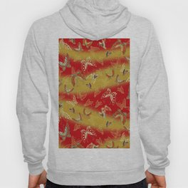 Red and Gold butterflies pattern Hoody