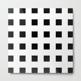 Cross Squares Black & White Metal Print