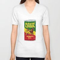 rasta V-neck T-shirts featuring Rasta Lager by Moto