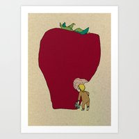 strawberry Art Prints featuring strawberry by Madmi