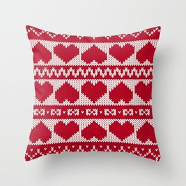 Fair Isle Valentines Day - Red Throw Pillow