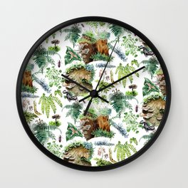 Mossy Forest Pattern White Wall Clock