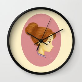 Girl in a Messy Bun Wall Clock