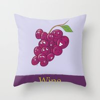wine Throw Pillows featuring Wine by Heather Martinez