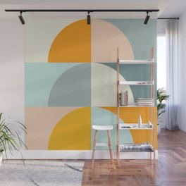 Summer Evening Geometric Shapes in Soft Blue and Orange Wall Mural