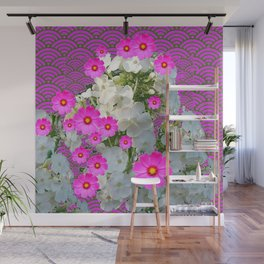 SNOW WHITE PHLOX & FUCHSIA  COSMOS FLOWERS  GARDEN ABSTRACT Wall Mural